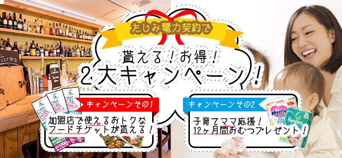たじみ電力契約でもらえるお得!2大キャンペーン